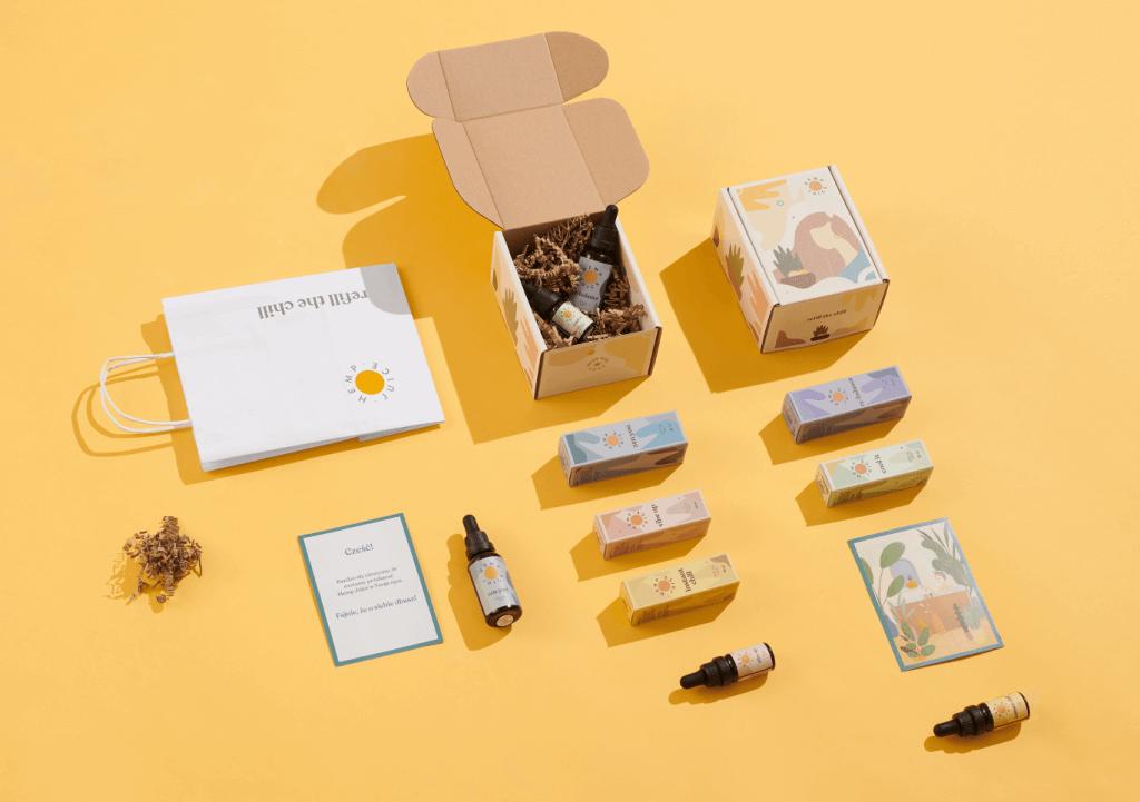 packaging cbd con sfondo giallo
