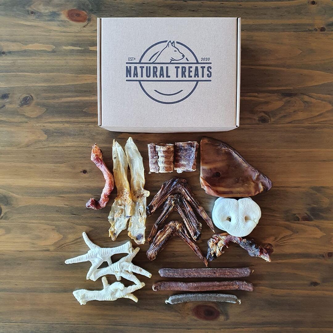 caja postal y varios snacks naturales para perros