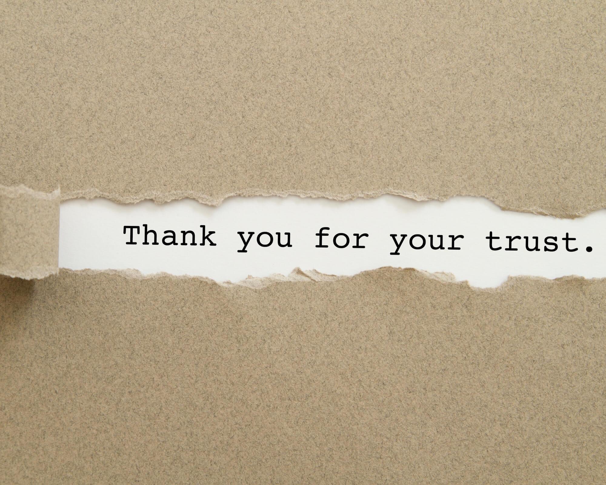 nota de agradecimiento escrita a ordenador