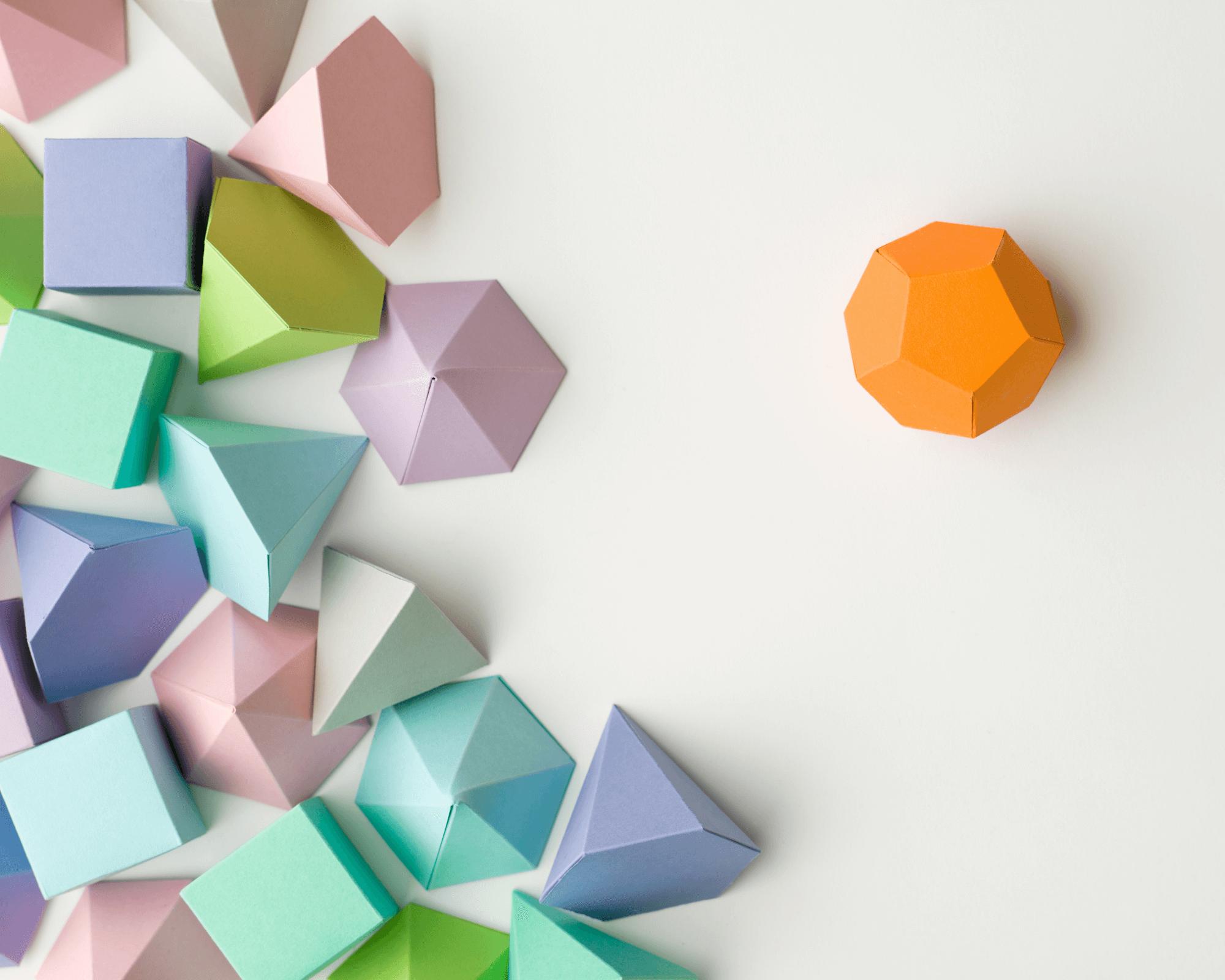 rombos, cubos y hexaedros de colores