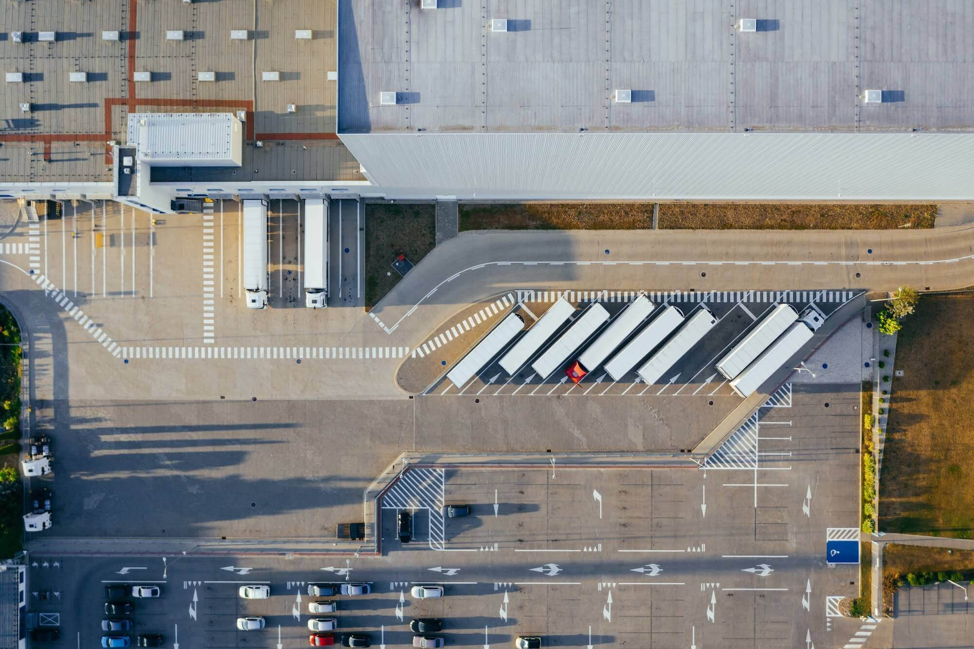 Overhead view of a warehouse loading bay