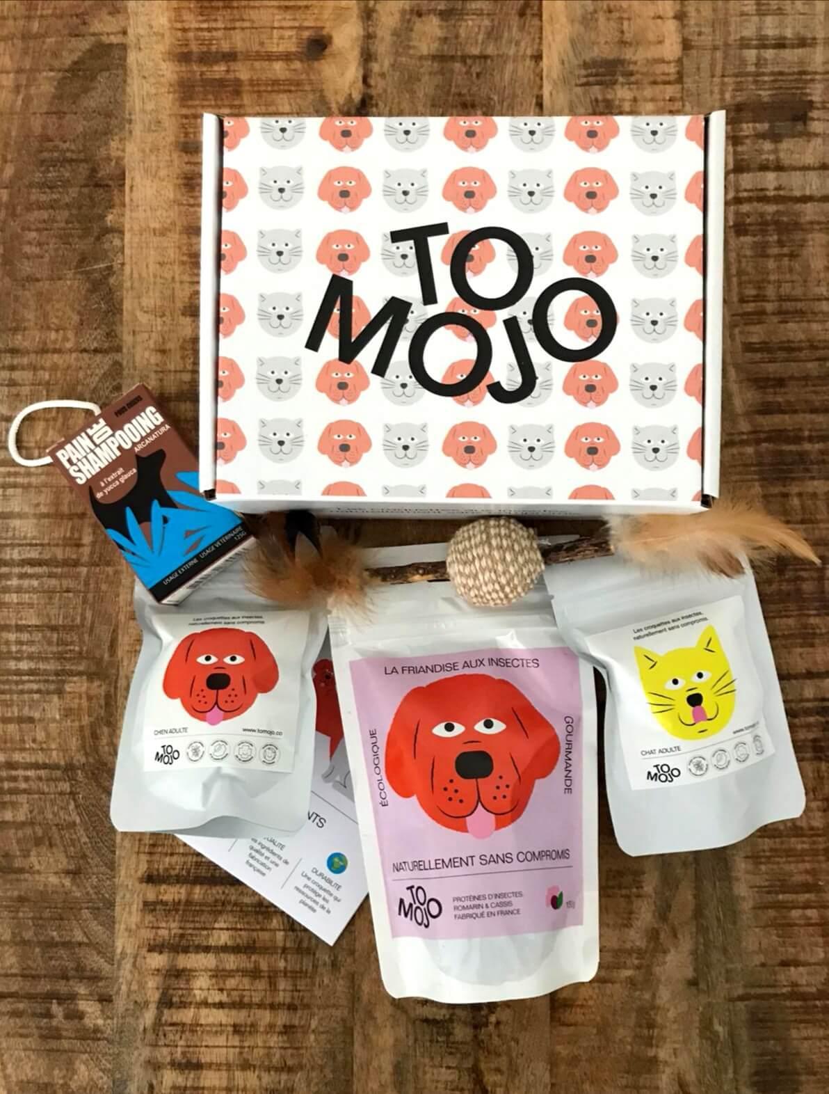 Nourriture pour animaux à base d'insectes et boîte d'expédition en carton