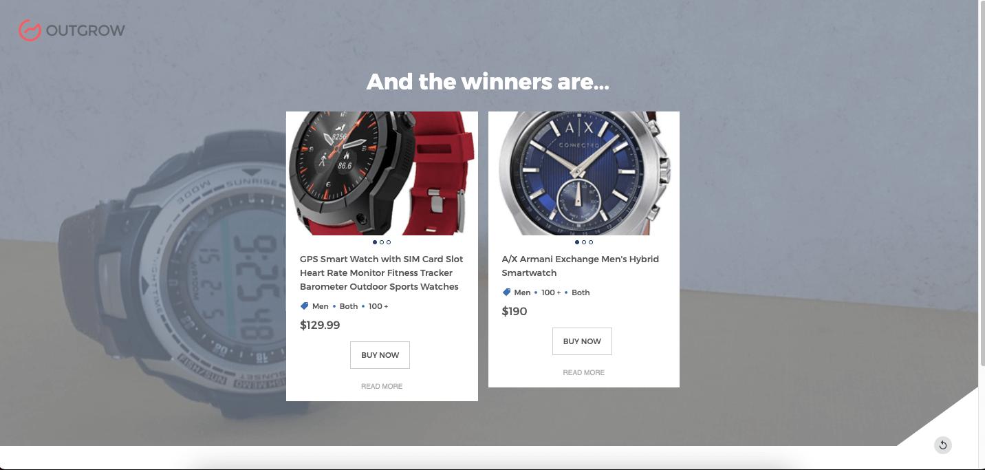 Gamification pour aider à choisir une montre