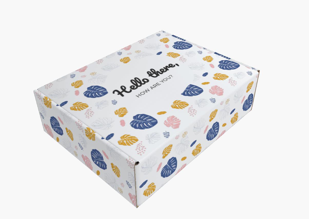 Boîte d'expédition en carton ondulé avec logo et motif