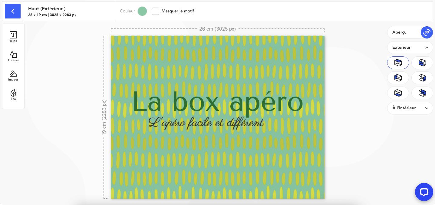 Boîte packaging avant la nouvelle fonctionnalité base de l'éditeur