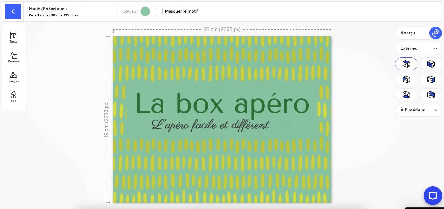 Boîte packaging après la nouvelle fonctionnalité base de l'éditeur