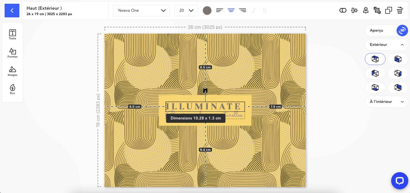 Règle avec mesure en centimètres et pixels dans notre éditeur de création de packaging
