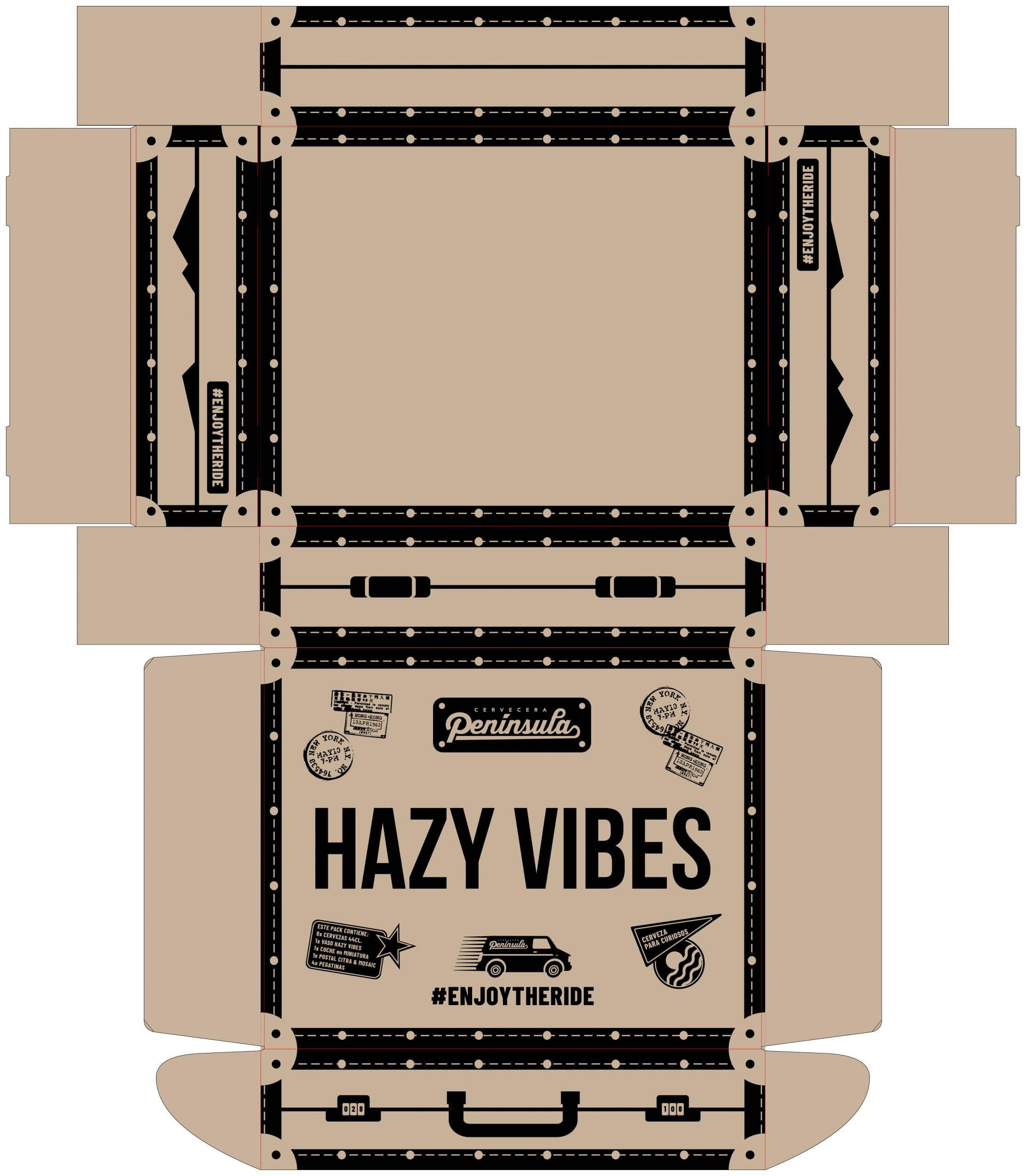 Dieline personalizado con el logo Hazy Vibes