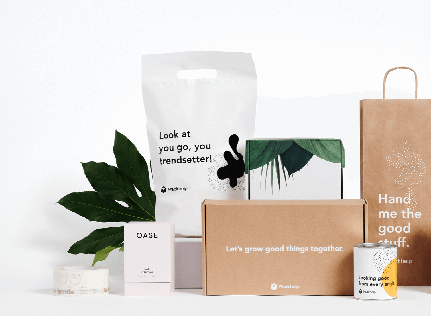 Ensemble d'emballages éco-responsables en matériaux à base de végétaux