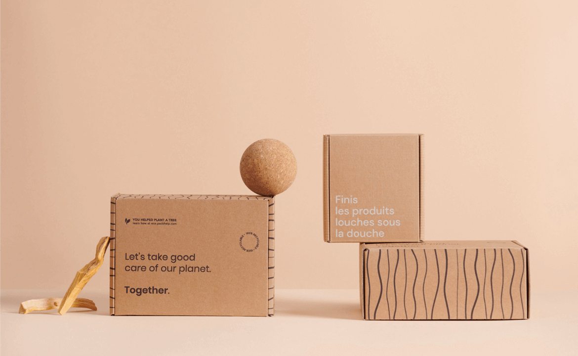 composition of three kraft mailer boxes
