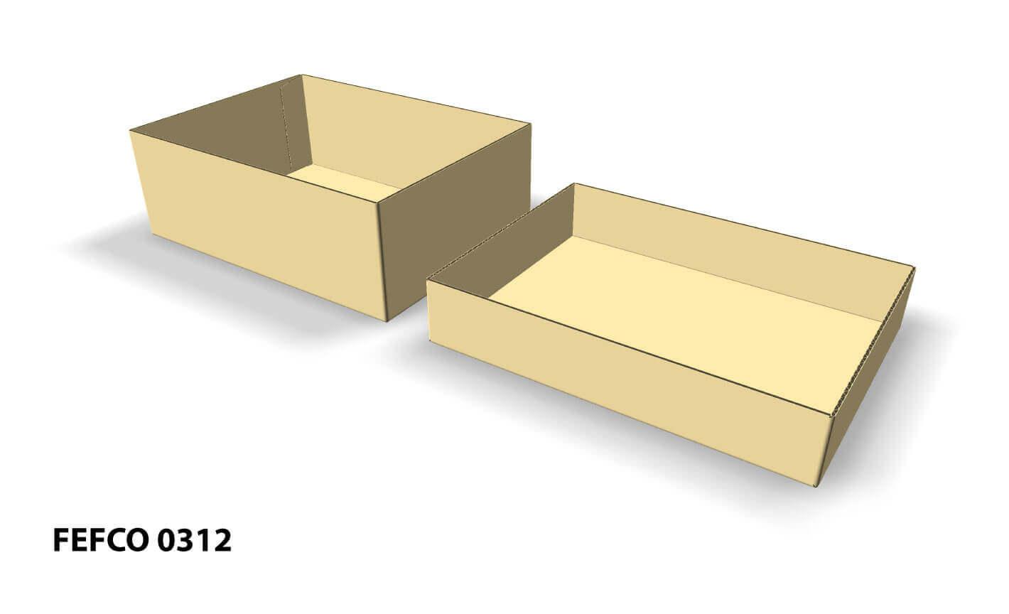 Imagen 3D de caja fefco 0312 con tapa