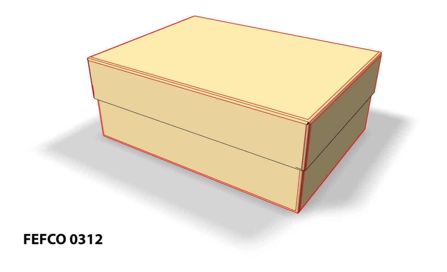 Imagen 3D de caja fefco 0312 con tapa y líneas de plegado