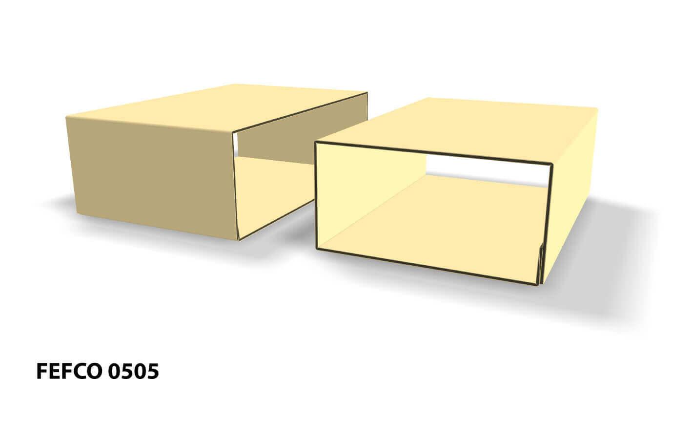 Imagen 3D de caja fefco 0505 deslizante