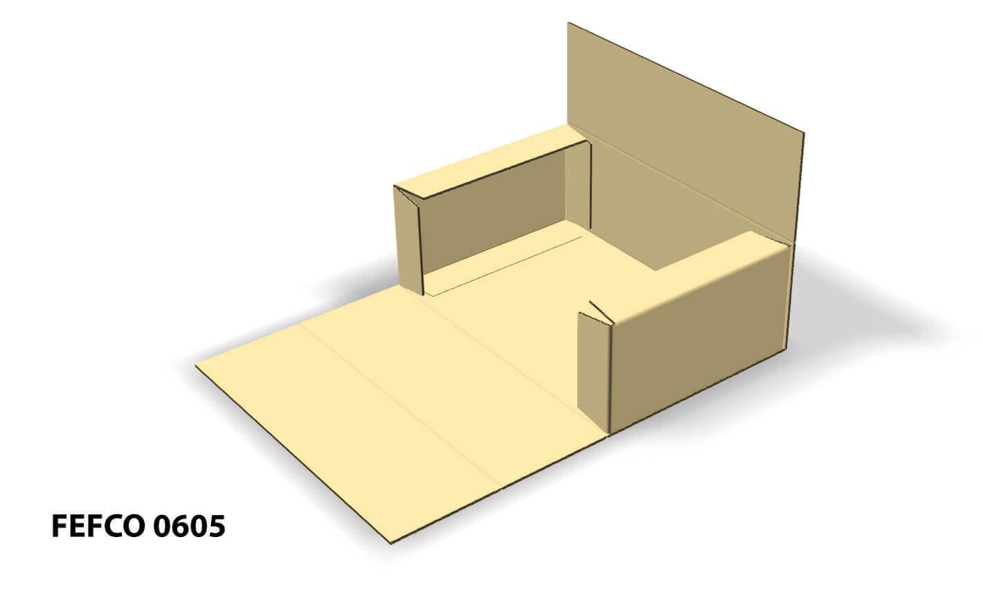Imagen 3D de caja Fefco 0605