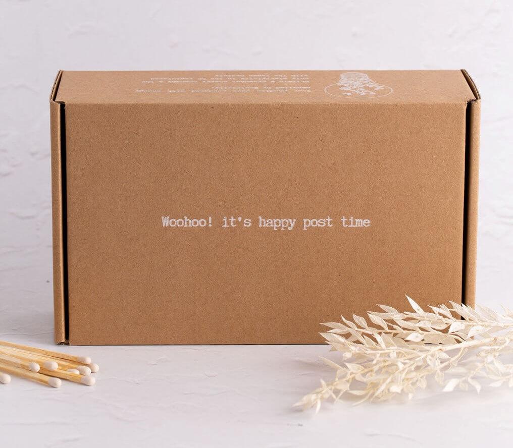 cutie kraft curierat cerneala alba
