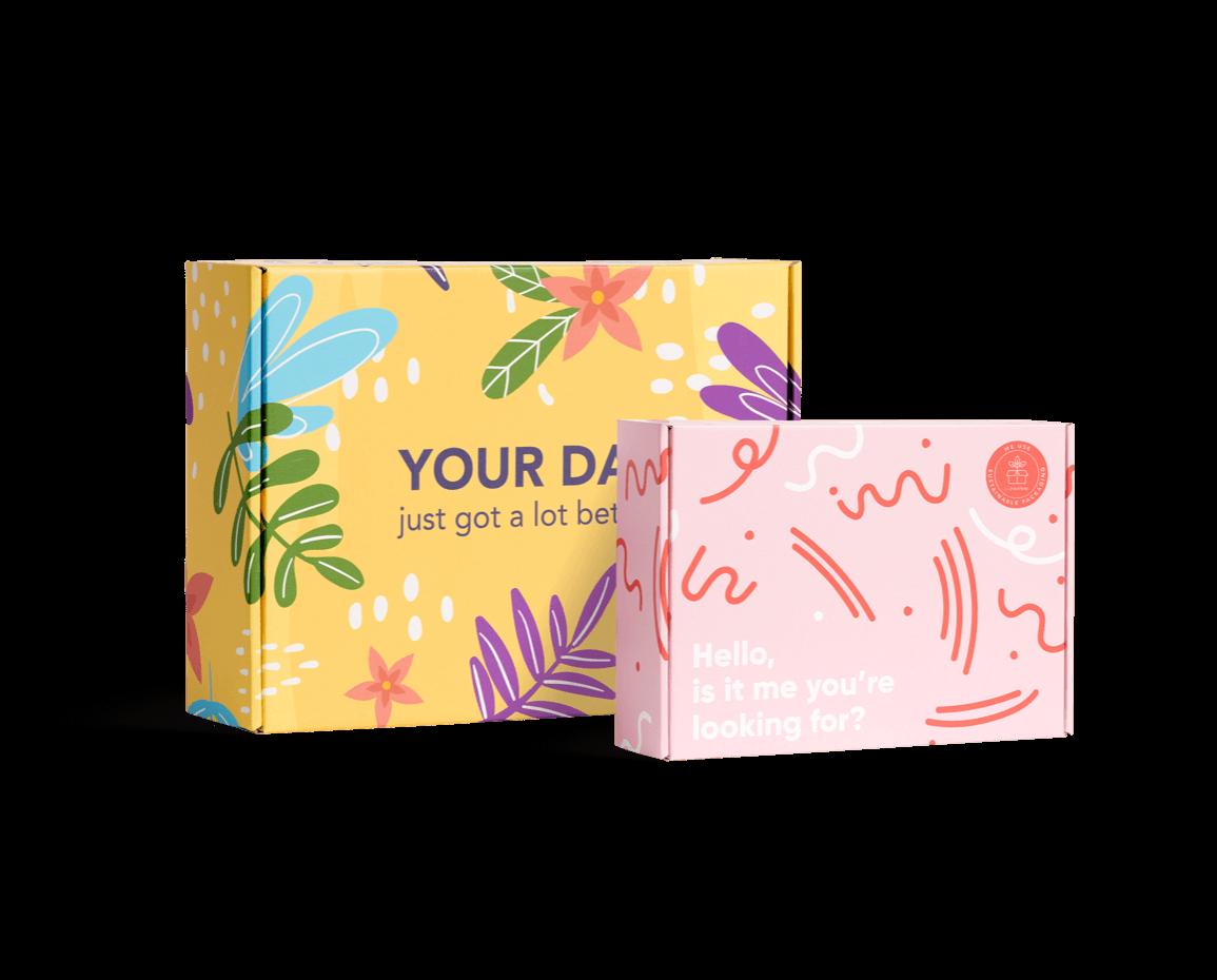 Caja postal colorida para realizar envíos online