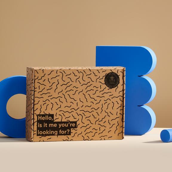 Umweltfreundlicher Karton mit Text und Muster