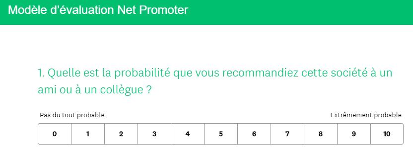 Exemple de Net Promoter Score