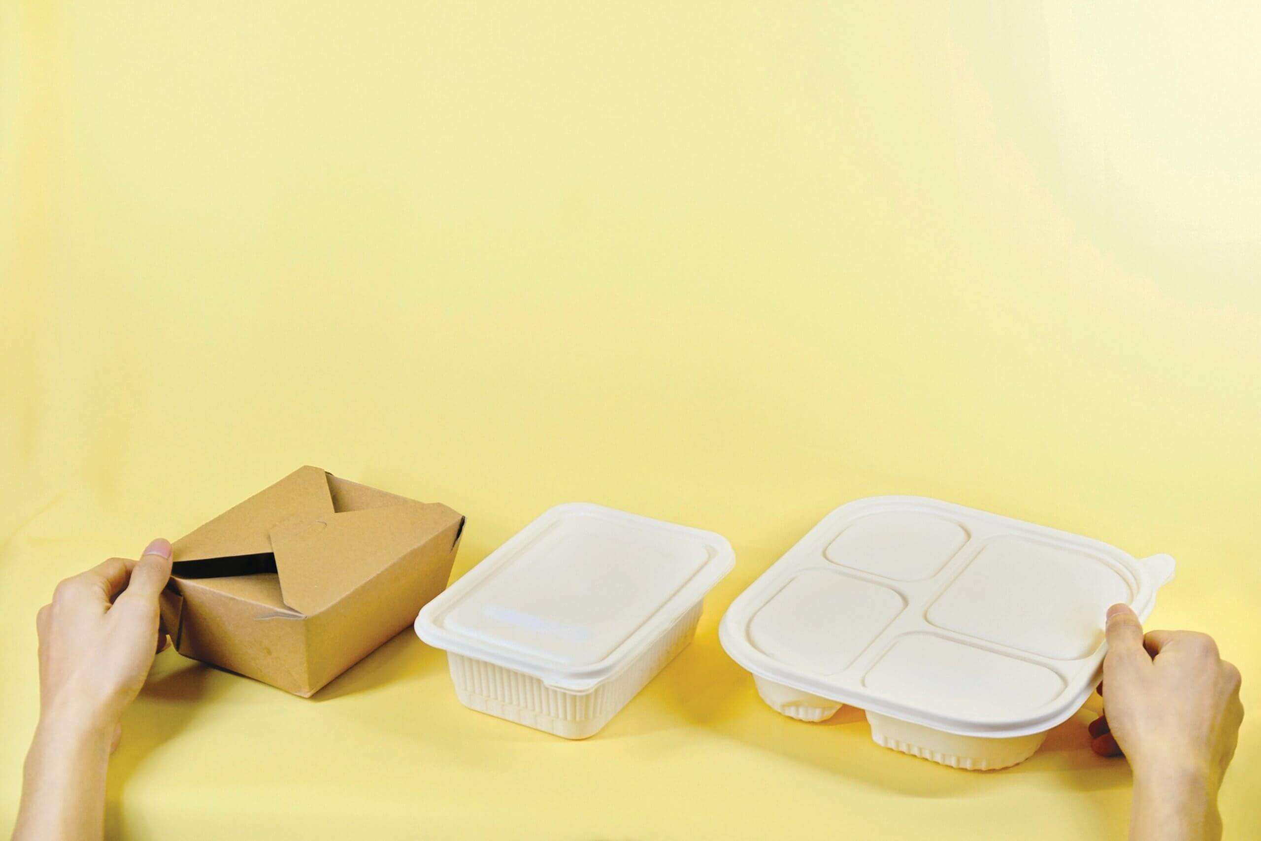 cardboard and plastic food boxes