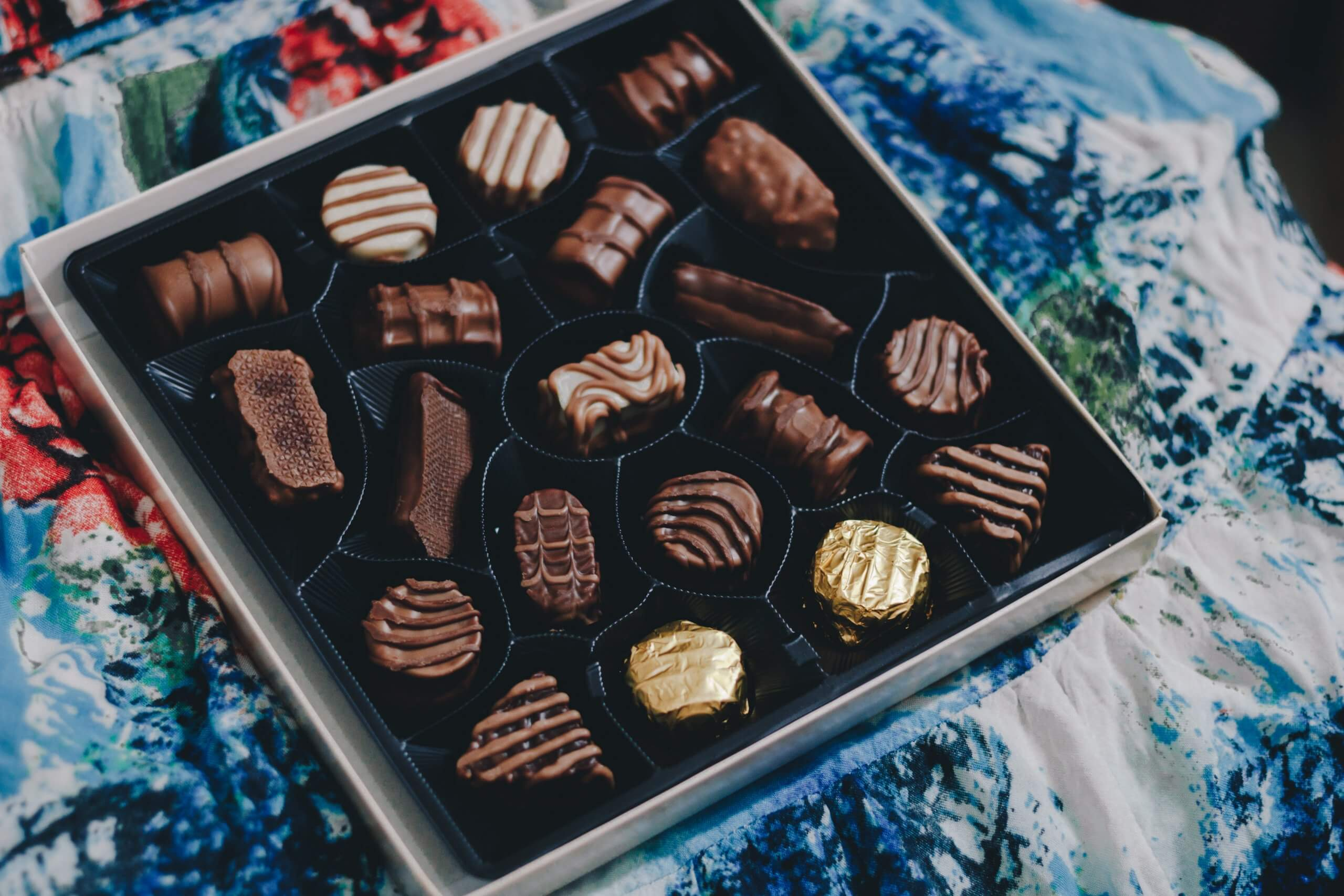 chocolate box with plastic tray