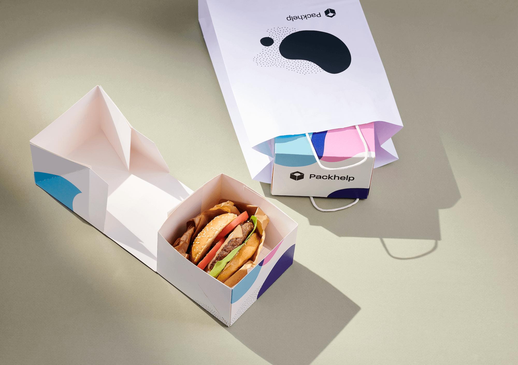 caja para hamburguesa envase take away