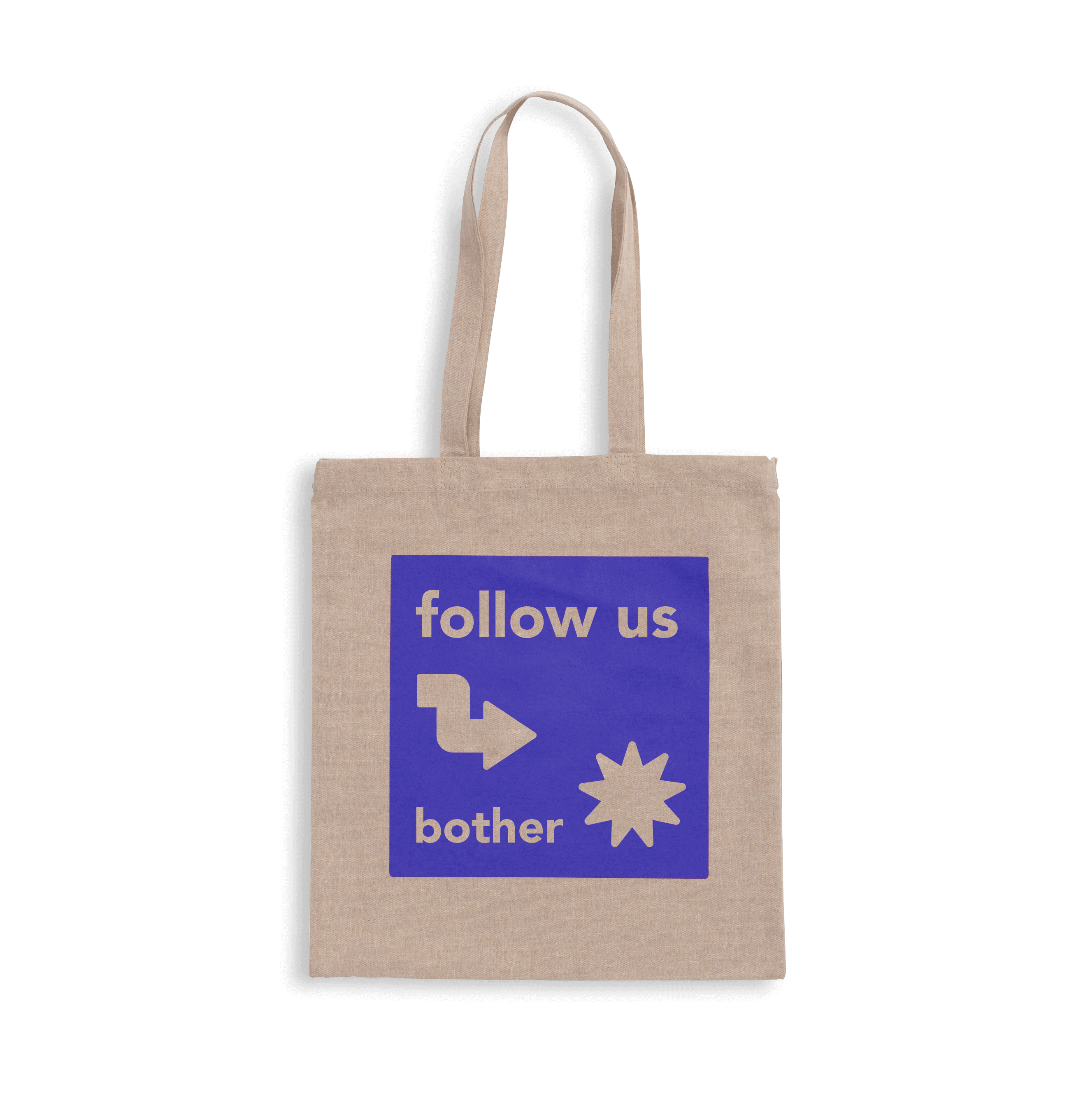 Light grey recycled fabric tote bag with purple print