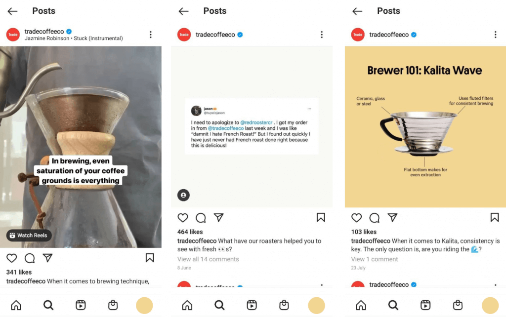 Trade coffee Instagram Account