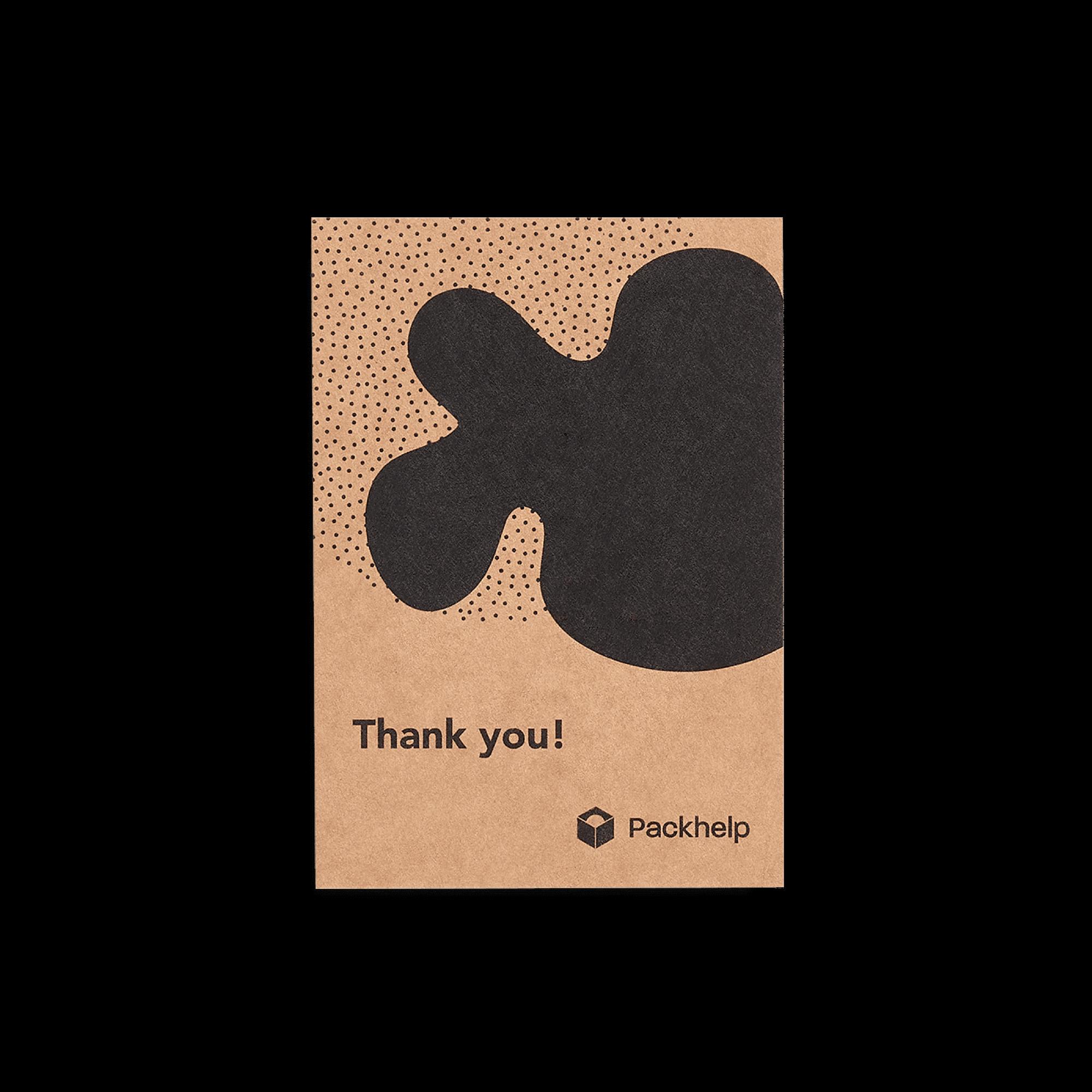 Biglietto di ringraziamento personalizzato kraft con stampa nera