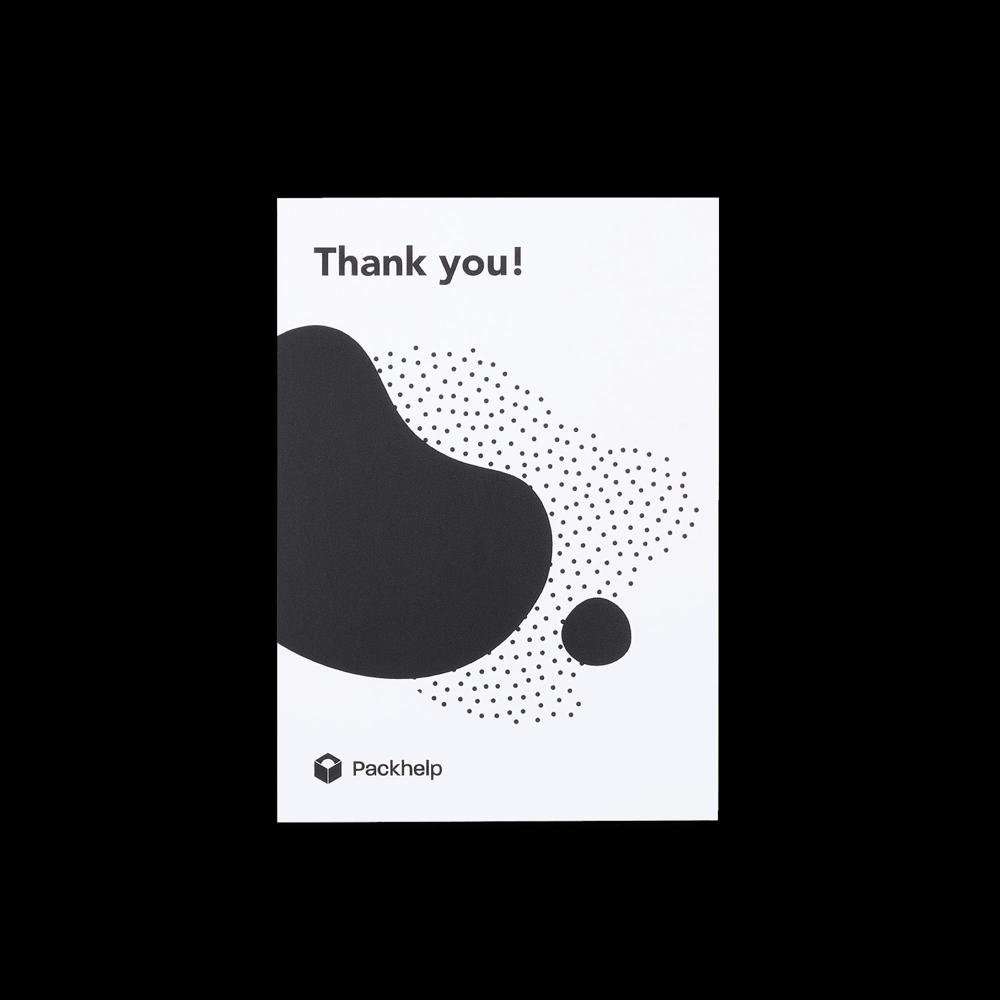 Biglietto di ringraziamento personalizzato bianco con stampa nera