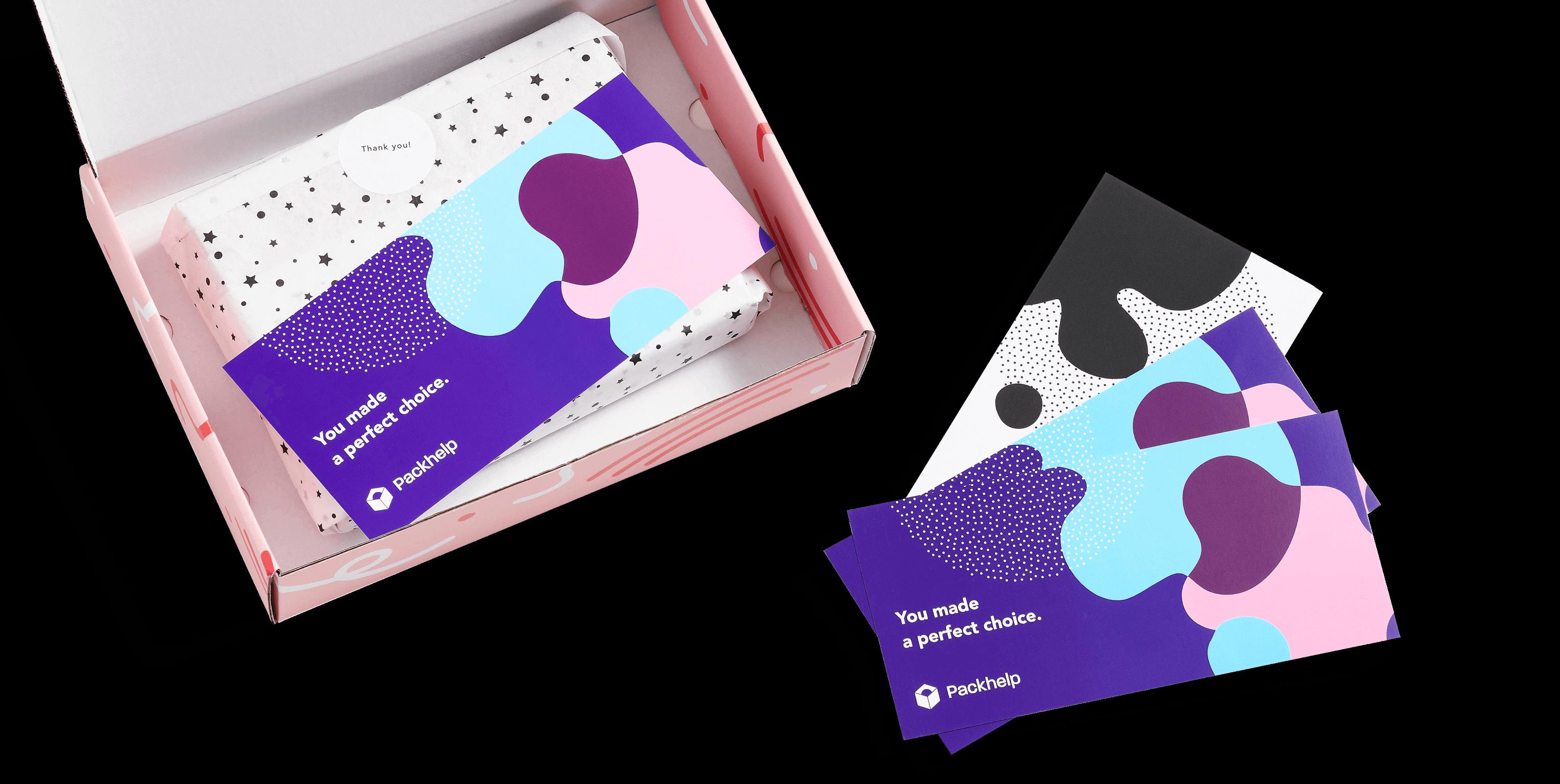 Biglietti di ringraziamento personalizzati a colori con scatola postale